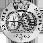1765 Taler Spezies 1/2 Gulden Stück Rückseite Silber Münze