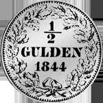 Rückseite Silber Münze Gulden Stück 1/2 1844
