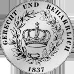 Münze Rückseite Silber Kronen Taler 1837