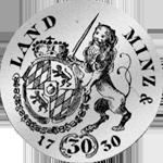 Rückseite 1/2 Gulden Stück Münze Silber 1730