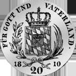 1810 Silber Stück 20 Kronen 6 Batzen Münze Rückseite