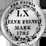 1795 6 Batzen 20 Kronen Stücke Silber Münze Rückseite
