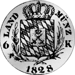 Land Münze Kreuzer 6 1828 Silber Rückseite