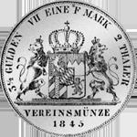 1845 Taler Stück Silber 2 Vereins Münze Rückseite