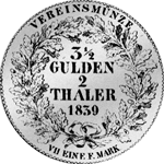 1839 Taler Silber Vereins Stück 2 Rückseite