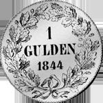 Silber Münze Rückseite Gulden Stück 1844