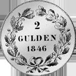 2 Gulden Stück Silber Münze 1846