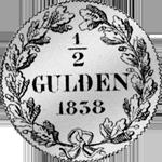 1/2 Gulden Stück Silber Münze 1838
