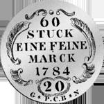 1784 Kronen Stück 20 6 Batzen Silber Münze Rückseite
