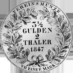 Silber Münze Vereins Taler 2 Stück 1847