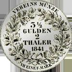 1841 Silber Taler Stück Vereins Münze Rückseite