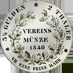 1840 Taler Stück Vereins Münze Silber Rückseite
