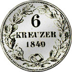 6 Kreuzer Münze Silber Stück 1849