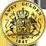 Silber Münze 2 Gulden Stück 1847