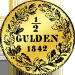 1842 Gulden Stück 1/2 Rückseite Silber Münze