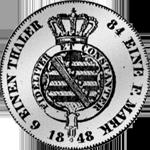 1/6 Reichs Taler Silber Münze Kurant Rückseite 1848