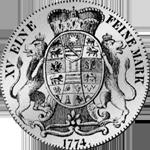 Silber Rückseite Münze Reichs Taler Fuß 1774