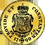 Münze Gold Dukaten 1790 Rückseite