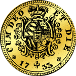 Münze Gold 1/4 Carol 1733 Rückseite