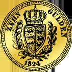 Rückseite Gold Münze 1824 10 Gulden Stück