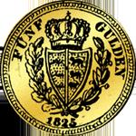 Münze Gold 5 Gulden Stück 1825 Rückseite