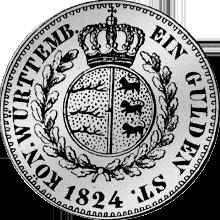 Silber Rückseite Münze Gulden Stück 1824