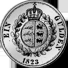 1823 Rückseite Silber Münze Gulden Stück
