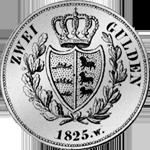 Gulden Stück Silber Münze Rückseite 2 1825