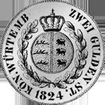 Rückseite Silber Gulden Stück 2 Münze 1824