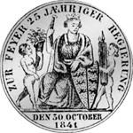 1841 Gulden Stück Münze Silber Rückseite