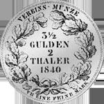 1840 Münze Silber Vereins Taler 2 Stück Rückseite