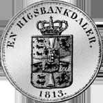 Rückseite Münze Silber Rigsbanks Taler 1813