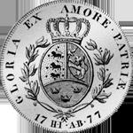 Spezies Reichs Taler Münze Silber Rückseite 1777