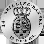 1783 24 Schilling Taler Spezies 1/5 Münze Silber Rückseite