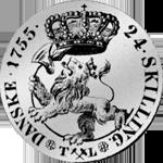 1755 Münze Silber 1/5 Spezies Taler 24 Schilling Rückseite