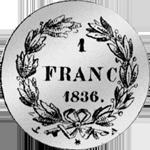 1836 Silber Münze 1 Frank