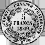 Fünf Franken Stück Silber Münze 1849
