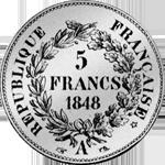Fünf Franken Stück Silber Münze 1848