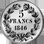 1846 Stück Silber Franken Münze Fünf Rückseite