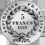 Rückseite Silber Münze Fünf Franken Stück 1852