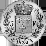 1830 Fünf Franken Stück Silber Münze Rückseite