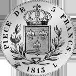 1815 Silber Münze Fünf Franken Stück Rückseite