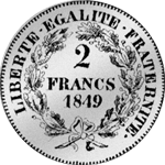 1849 2 Franken Stück Silber Münze 1849