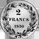 1830 Silber Münze Zwei Franken Stück 1830
