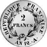 1804 Münze Zwei Franken Silber Stück Rückseite