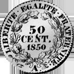 1/2 Frank Silber Münze 1850 Rückseite