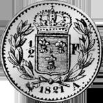 1/2 Frank Münze Silber 1821