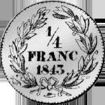 1843 Frank Silber Münze 1/4 Rückseite