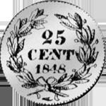 1848 Silber Münze 1/4 Frank Rückseite