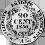 1850 Silber Münze Frank 1/5